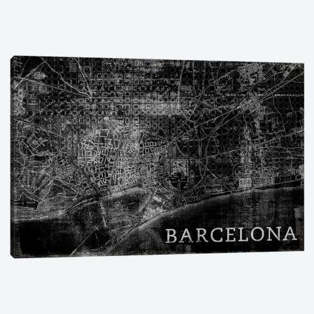 Map Barcelona, Vintage In Black Canvas Print #PST444} by PI Studio Canvas Art Print