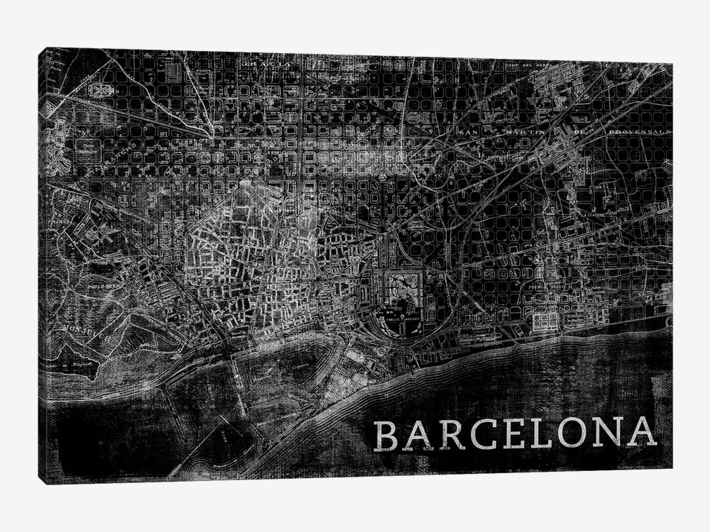 Map Barcelona, Vintage In Black by PI Studio 1-piece Canvas Print
