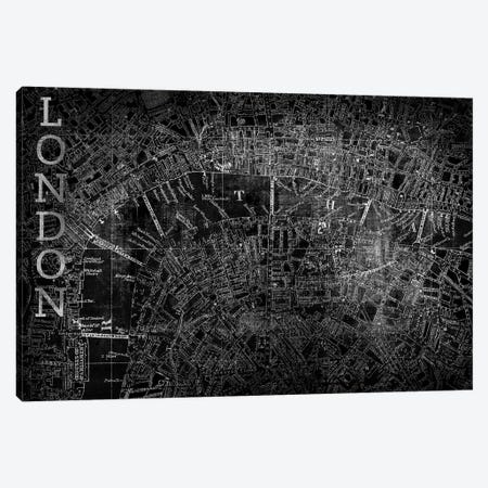 Map London, Vintage In Black Canvas Print #PST445} by PI Studio Canvas Art Print