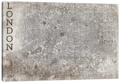 Map London, Vintage Canvas Art Print