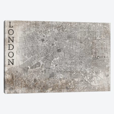 Map London, Vintage Canvas Print #PST446} by PI Studio Art Print