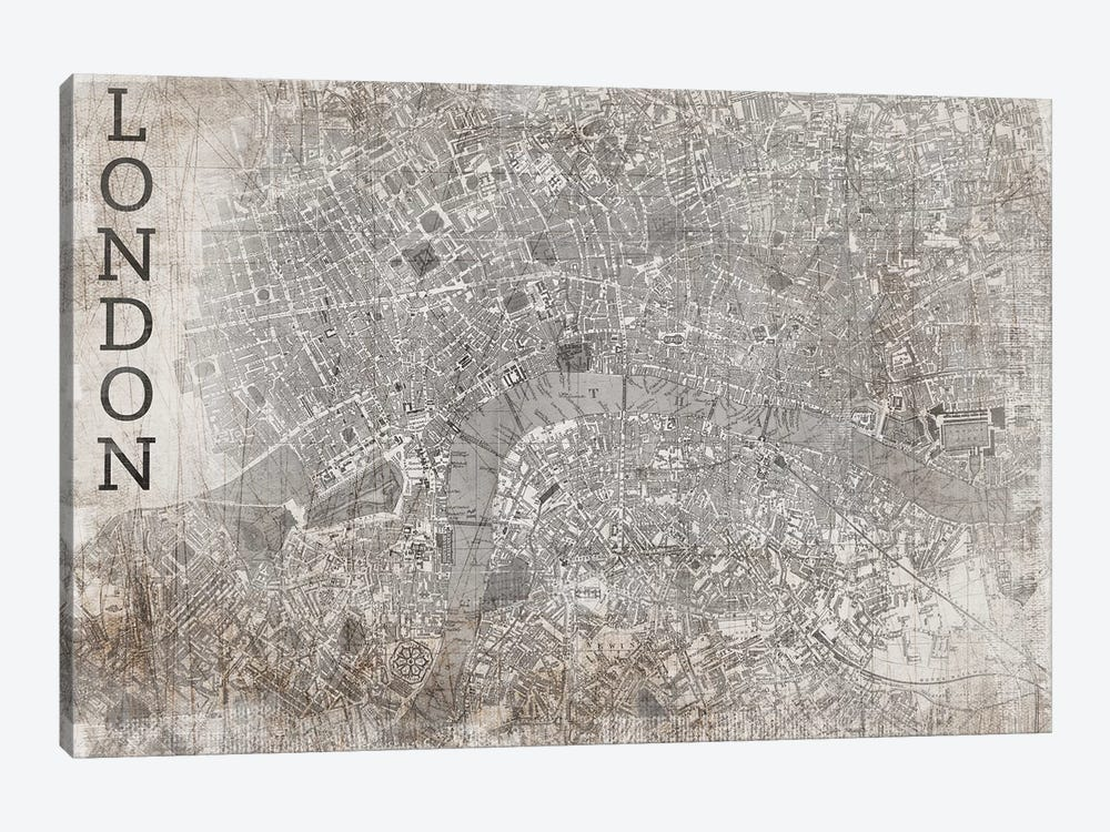 Map London, Vintage by PI Studio 1-piece Canvas Art Print