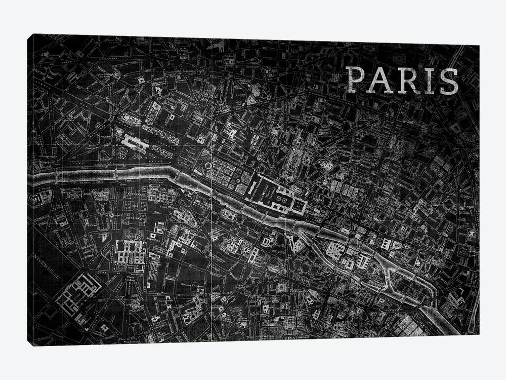 Map Paris, Vintage In Black by PI Studio 1-piece Canvas Artwork