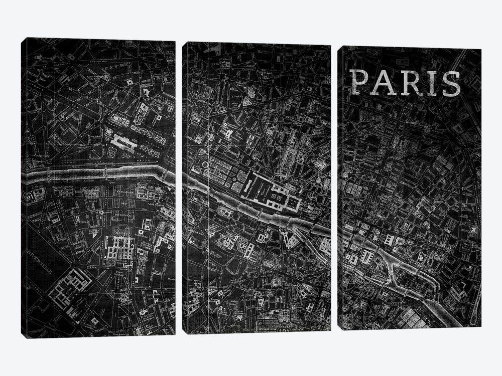 Map Paris, Vintage In Black by PI Studio 3-piece Canvas Wall Art