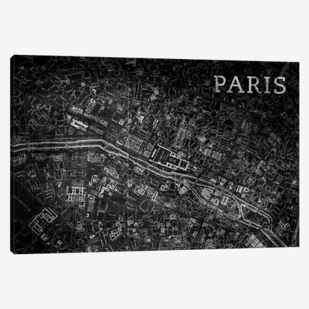 Map Paris, Vintage In Black Canvas Print #PST447} by PI Studio Canvas Art Print