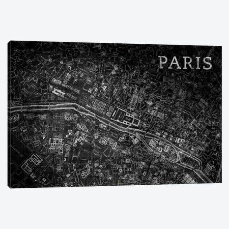 Map Paris, Vintage In Black Canvas Print #PST447} by PI Studio Canvas Art Print
