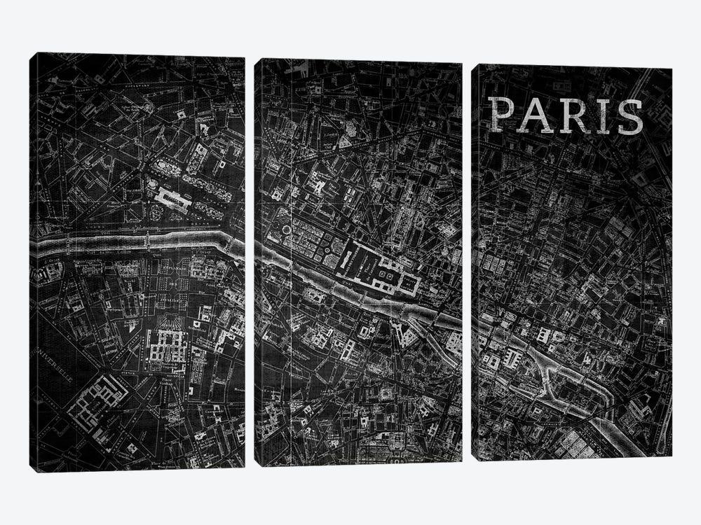 Map Paris, Vintage In Black by PI Studio 3-piece Canvas Wall Art
