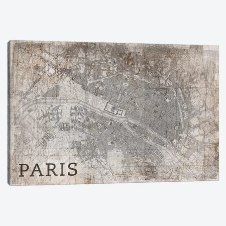 Map Paris, Vintage Canvas Print #PST448} by PI Studio Canvas Wall Art
