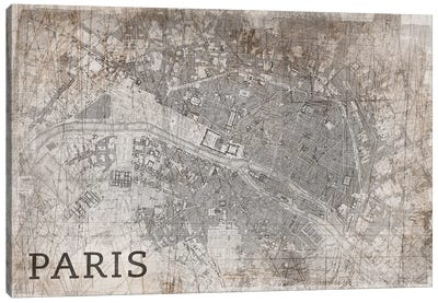 Map Paris, Vintage Canvas Art Print