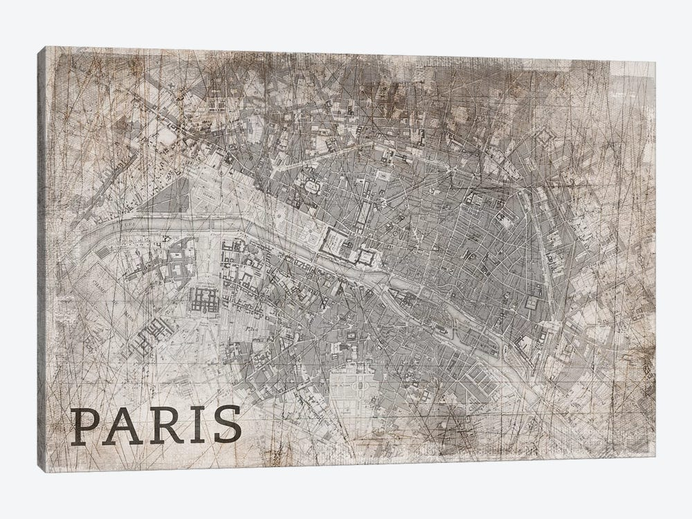 Map Paris, Vintage by PI Studio 1-piece Canvas Art Print