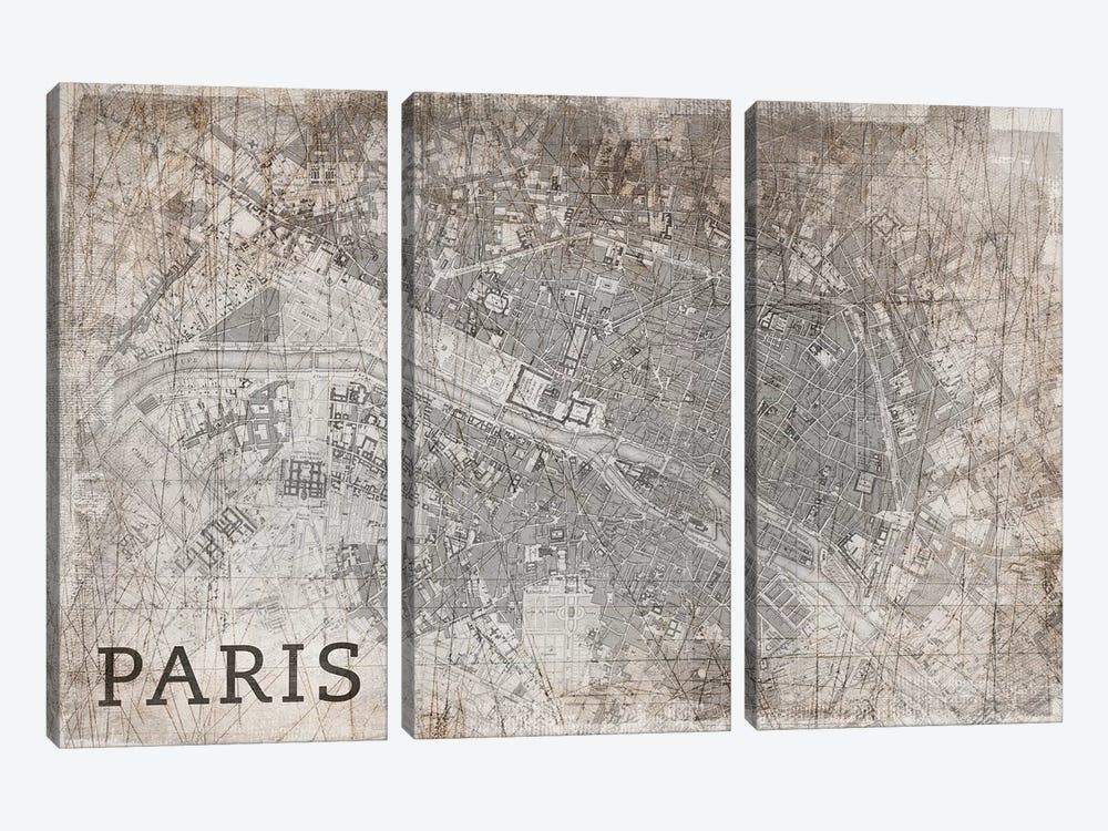 Map Paris, Vintage by PI Studio 3-piece Canvas Print