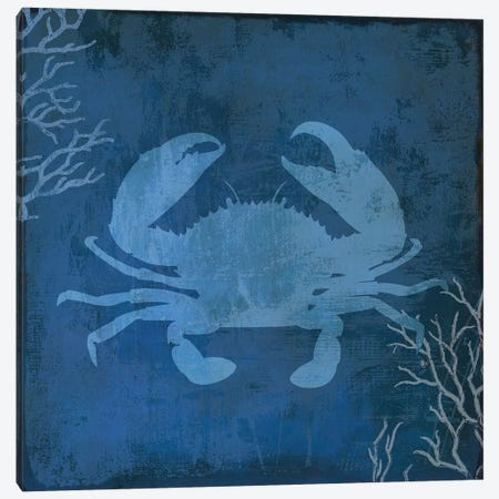 Navy Sea Crab Canvas Print #PST494} by PI Studio Canvas Artwork