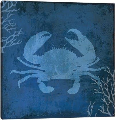 Navy Sea Crab Canvas Art Print