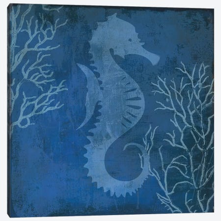 Navy Sea Horse Canvas Print #PST495} by PI Studio Canvas Art