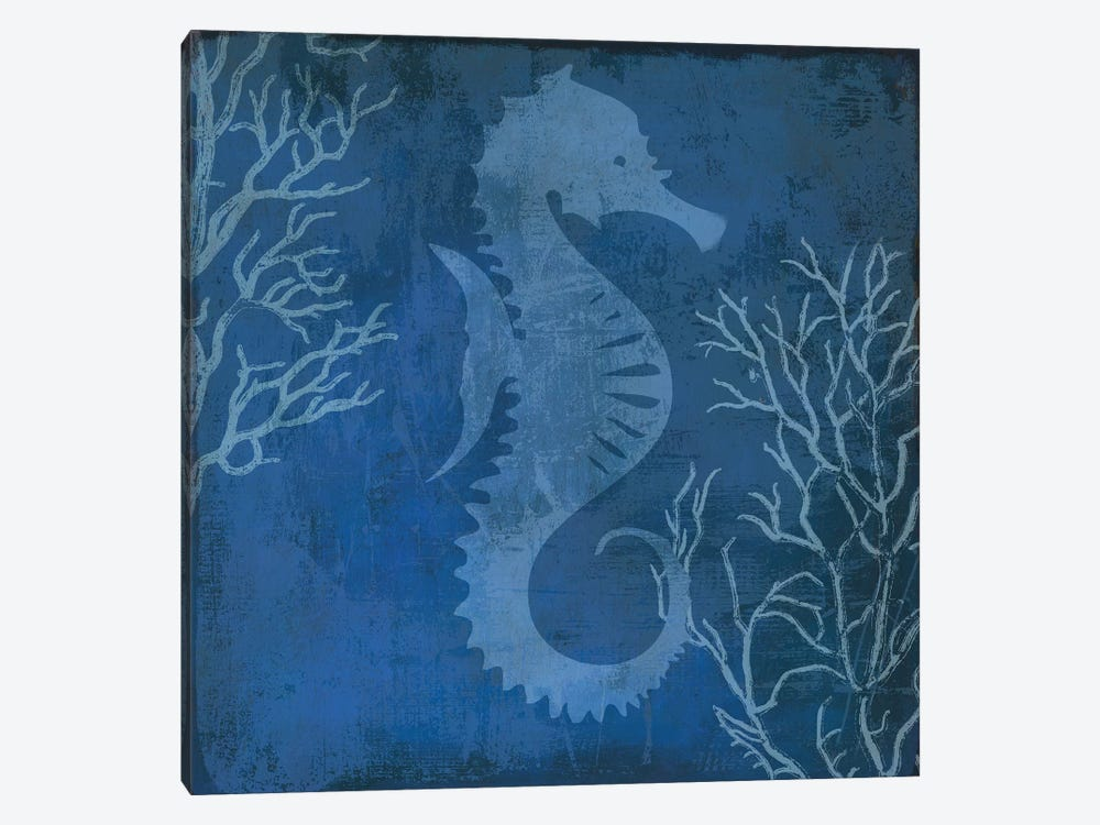 Navy Sea Horse 1-piece Art Print