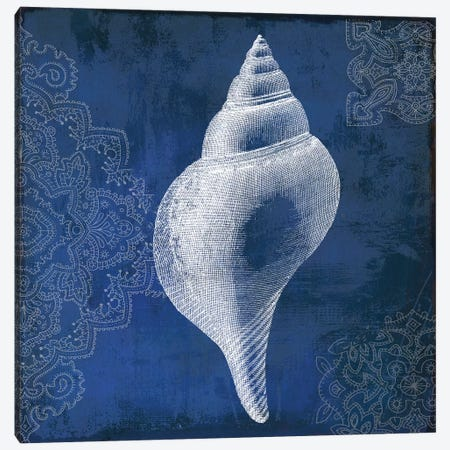 Navy Shell I Canvas Print #PST496} by PI Studio Canvas Wall Art