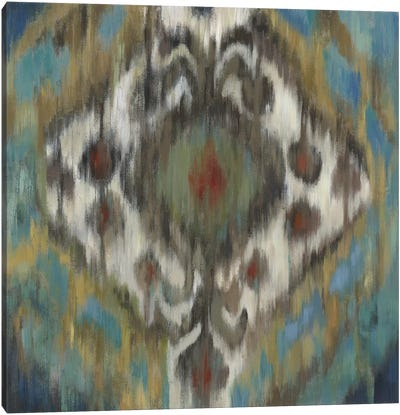 Peacock Ikat Canvas Art Print