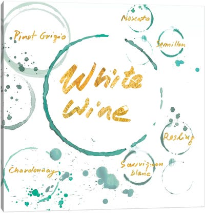 White Wine Gold Canvas Art Print