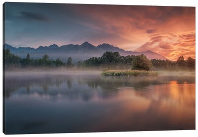 Daybreak By The Lake Canvas Art Print