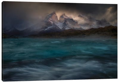 Stormy Winds Over The Torres Del Paine Canvas Art Print