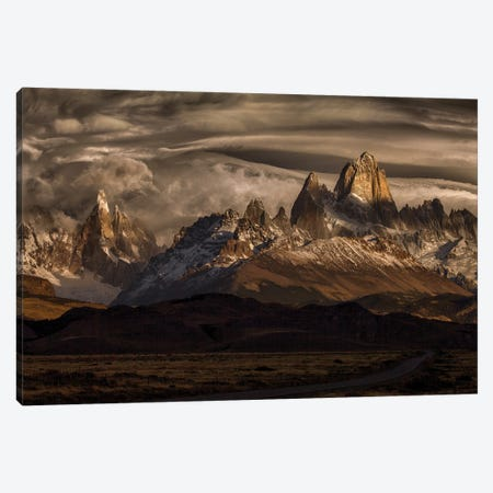 Striped Sky Over The Patagonia Spikes Canvas Print #PSV18} by Peter Svoboda Canvas Art Print