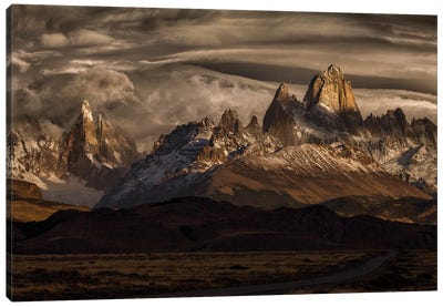 Striped Sky Over The Patagonia Spikes Canvas Art Print