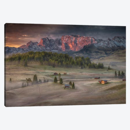 Burning Mountains Over The Frozen Valley 3-Piece Canvas #PSV6} by Peter Svoboda Canvas Print
