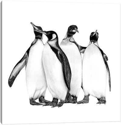 Penguins On The Town Canvas Art Print