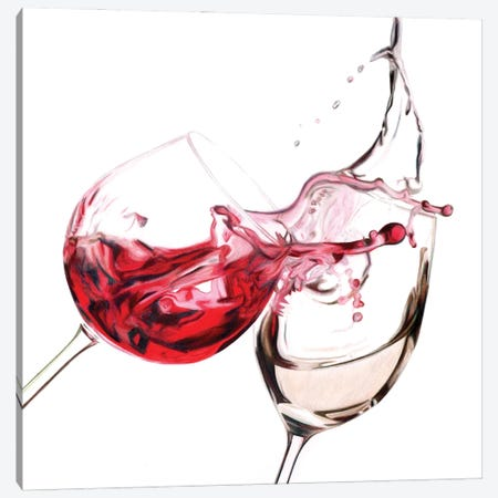 Red & White Splash Canvas Print #PSW73} by Paul Stowe Canvas Artwork