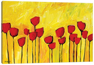 Red Poppies on Yellow Canvas Art Print
