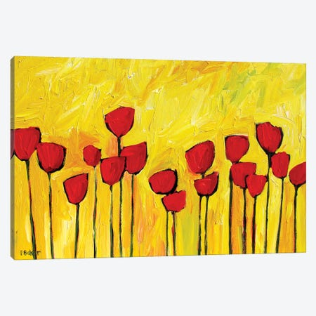 Red Poppies on Yellow 3-Piece Canvas #PTB114} by Patty Baker Canvas Wall Art