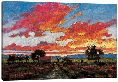 Sunset On The Plains Canvas Art Print