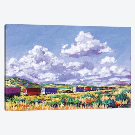 Train Leaving Gallup, New Mexico 3-Piece Canvas #PTB145} by Patty Baker Canvas Print