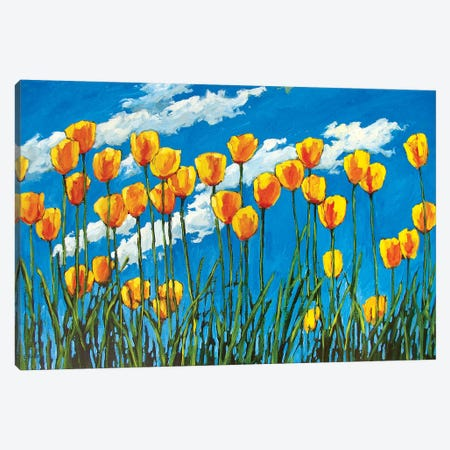 Yellow Tulips on Blue Sky 3-Piece Canvas #PTB159} by Patty Baker Art Print