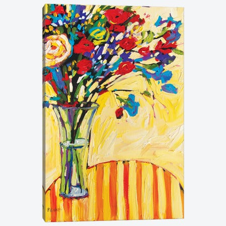 Floral Vase on Red and Yellow Striped Tablecloth Canvas Print #PTB161} by Patty Baker Canvas Artwork
