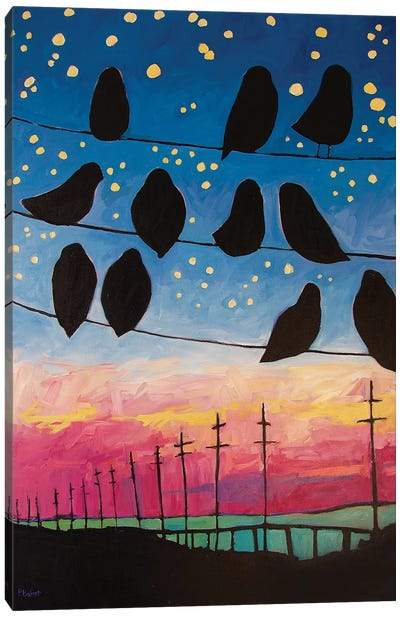 Birds On Wires Sunset Canvas Art Print