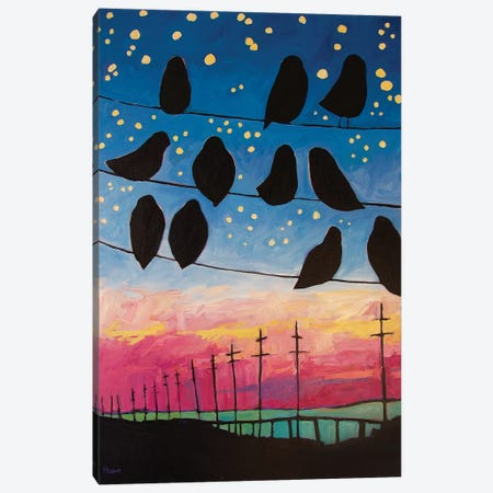 Birds On Wires Sunset Canvas Print #PTB171} by Patty Baker Canvas Print