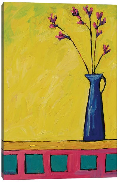 Blue Vase with Flowers On Yellow  Canvas Art Print
