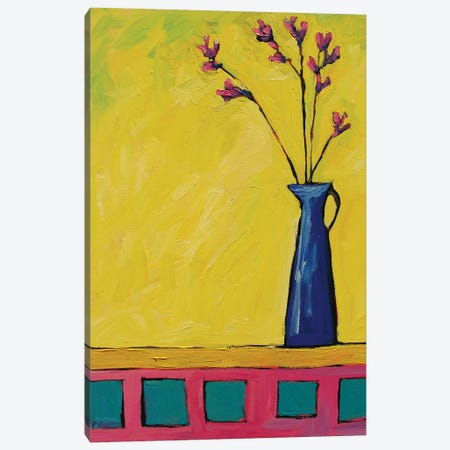 Blue Vase with Flowers On Yellow  Canvas Print #PTB172} by Patty Baker Canvas Print