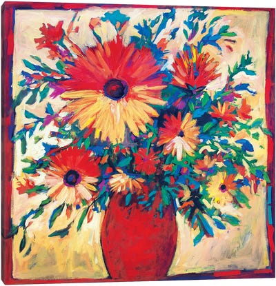 Floral Still Life with Red Vase  Canvas Art Print