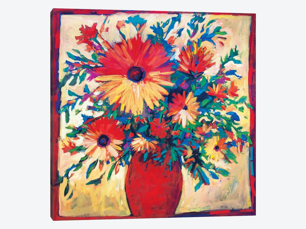 Floral Still Life with Red Vase  by Patty Baker 1-piece Canvas Wall Art