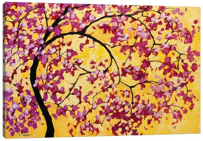 Pink Blossoms On Yellow Canvas Art Print