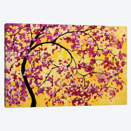 Pink Blossoms On Yellow 3-Piece Canvas #PTB204} by Patty Baker Canvas Artwork