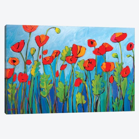 Red Poppies On Blue II Canvas Print #PTB209} by Patty Baker Art Print
