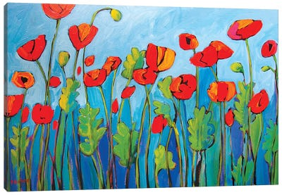 Red Poppies On Blue II Canvas Art Print