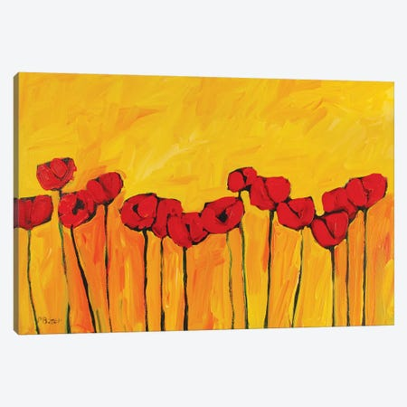 Red Poppies On Yellow  Canvas Print #PTB210} by Patty Baker Canvas Art