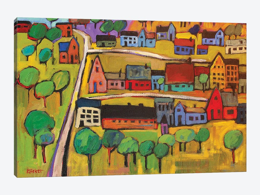 Small Town In Fauve II by Patty Baker 1-piece Canvas Art