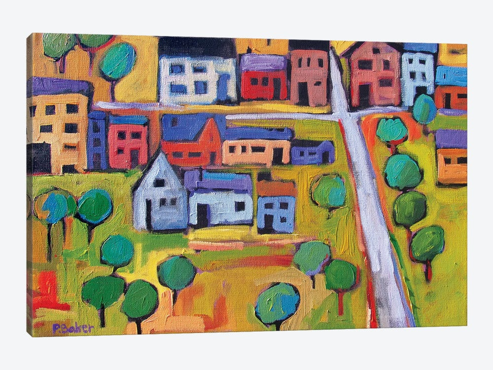 Small Town In Fauve IV by Patty Baker 1-piece Canvas Print