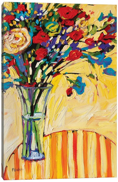 Still Life With Flowers and Striped Tablecloth Canvas Art Print