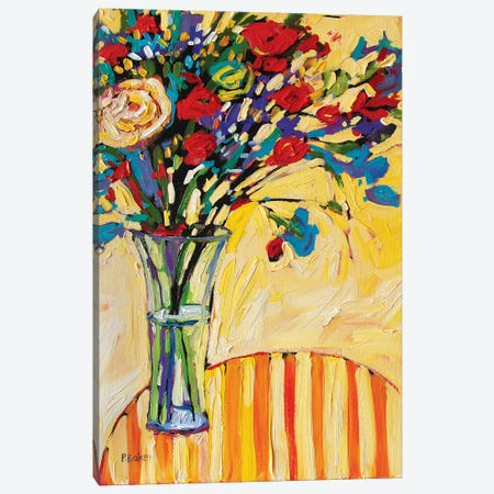 Still Life With Flowers and Striped Tablecloth Canvas Print #PTB220} by Patty Baker Canvas Art Print